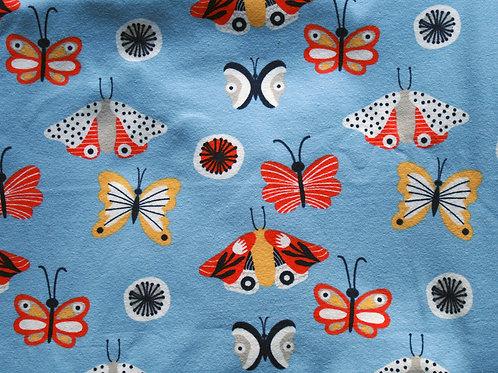 Jersey papillons bleu -130x140cm (laize)