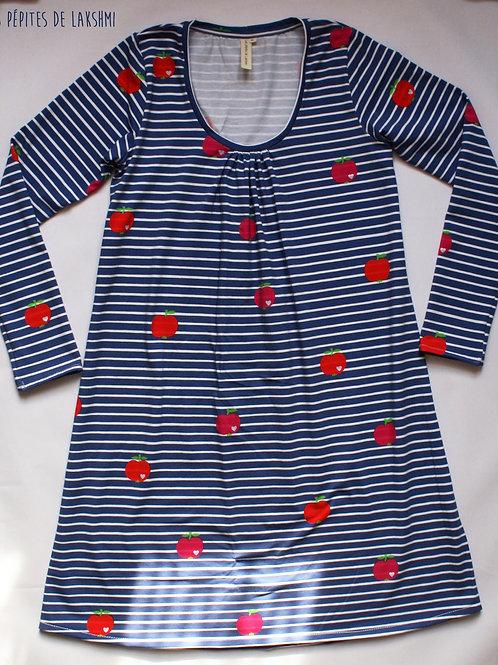 Robe ML femme marinière pommes - 34-46