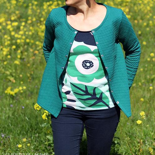 Gilet femme vert botanique