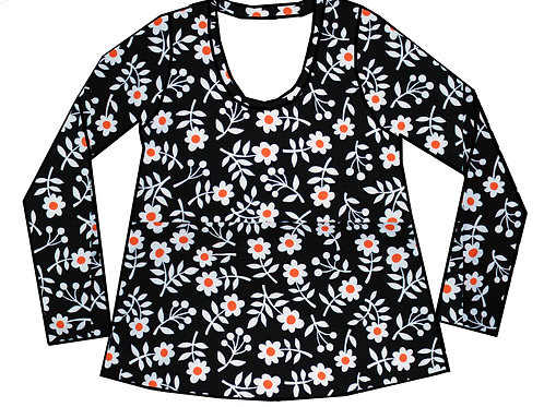 Tee-shirt ML femme fleurs rétro - 34-46
