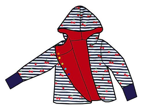 Gilet réversible Rouge/Marinière cerises