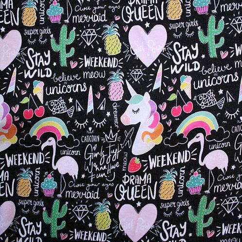 Sweat épais licornes - 100x150cm (laize)
