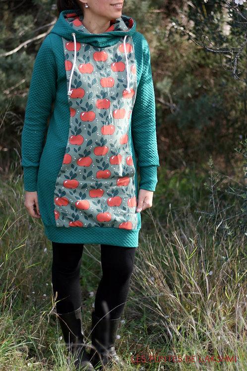 Robe sweat vert botanique