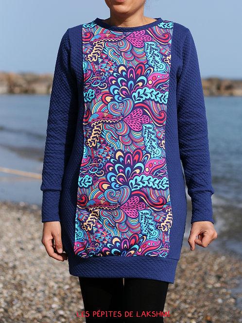 Robe sweat femme bleu