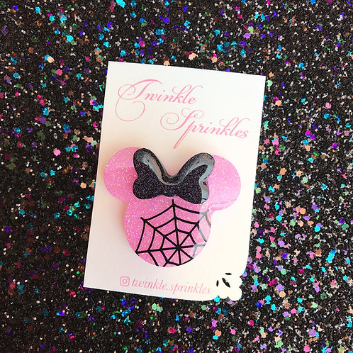 Minnie Mouse cobweb inspired Brooch / Necklace