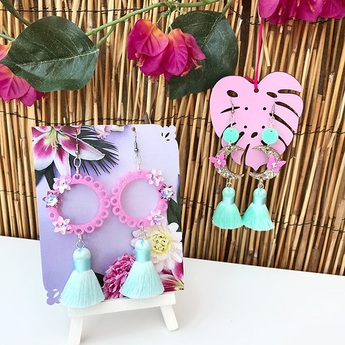 Pink and teal oriental statement Earrings