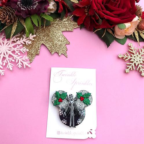 Jack Skellington Inspired Christmas Brooch / Necklace