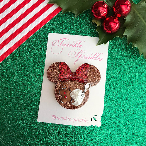 Gingerbread Brooch / Necklace with Whipped Cream Detail