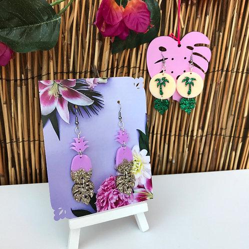 Pineapple palm leaf Earrings