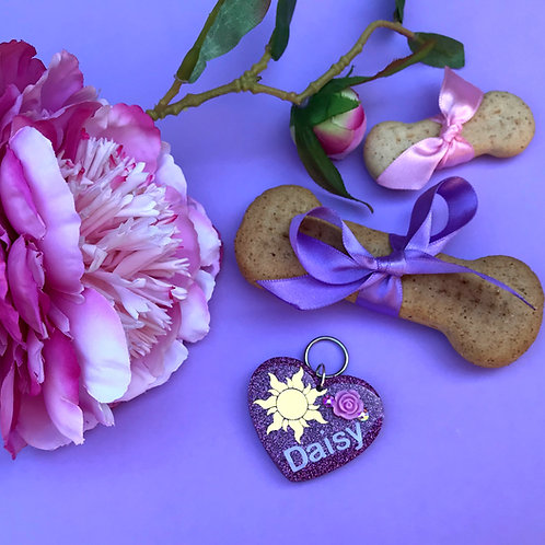 Punzie Inspired Name Heart Tag