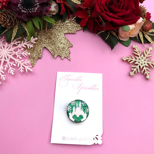 Christmas Snowflake Button Brooch / Necklace
