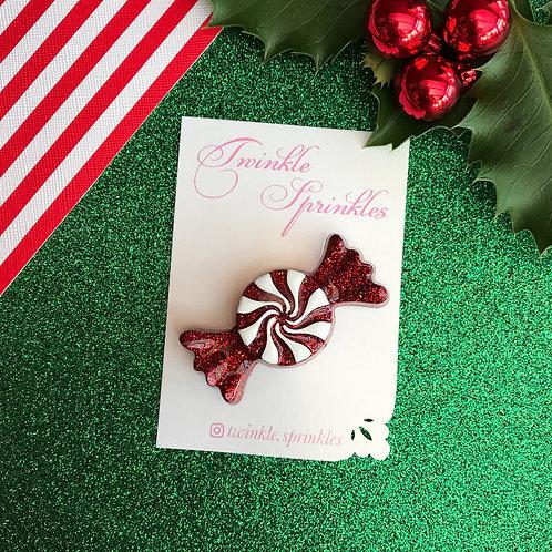 Red Glitter Sweetie Brooch