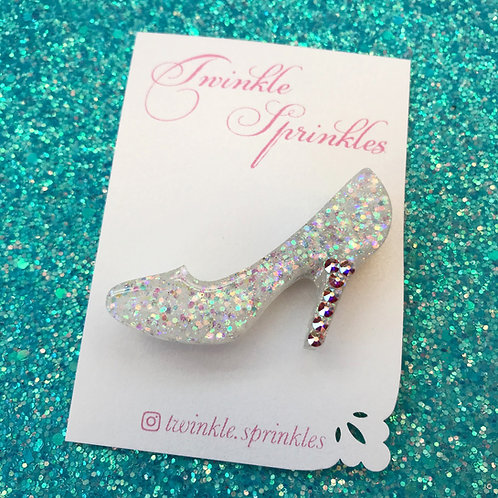 Cinderella inspired glass slipper Brooch / Necklace