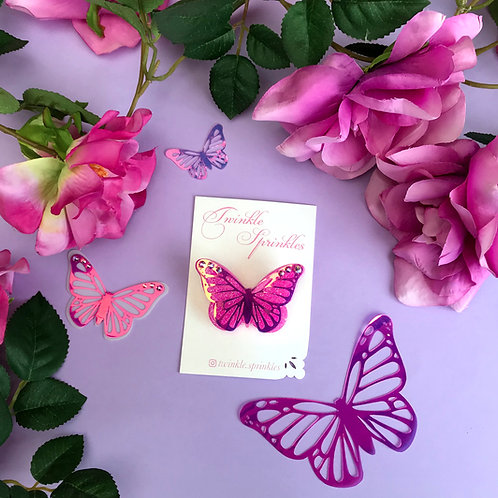 Pink Iridescent Butterfly Brooch / Necklace