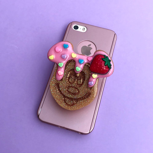 Large Strawberry Waffle Inspired Phone Grip
