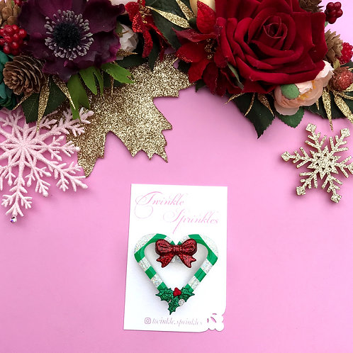 Heart Candy Cane Brooch / Necklace