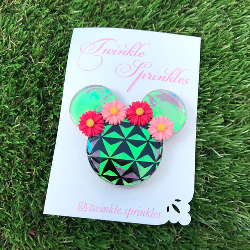 Holographic Epcot Inspired Brooch / Necklace