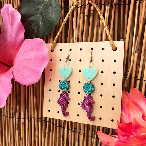 Glitter seahorse drop Earrings
