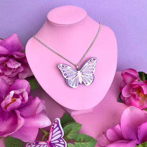 Purple Iridescent Butterfly Brooch / Necklace