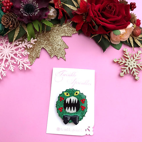 Nightmare Before Christmas Inspired Wreath Brooch / Necklace