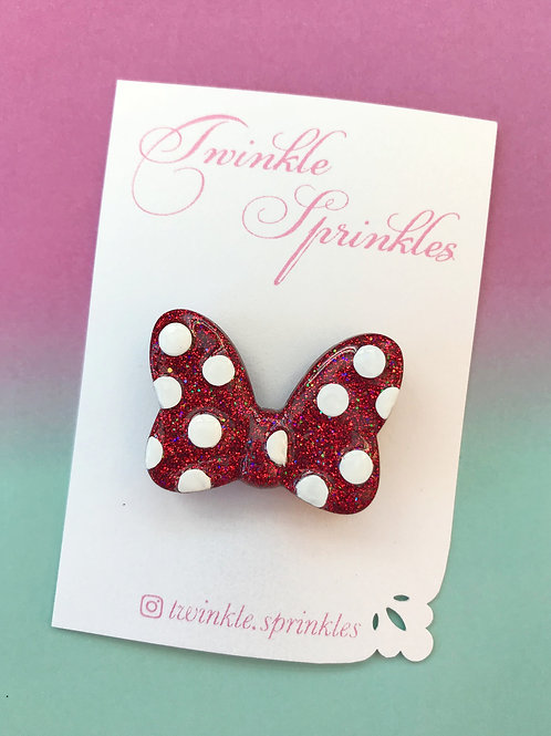 Red puffy bow Brooch / Necklace