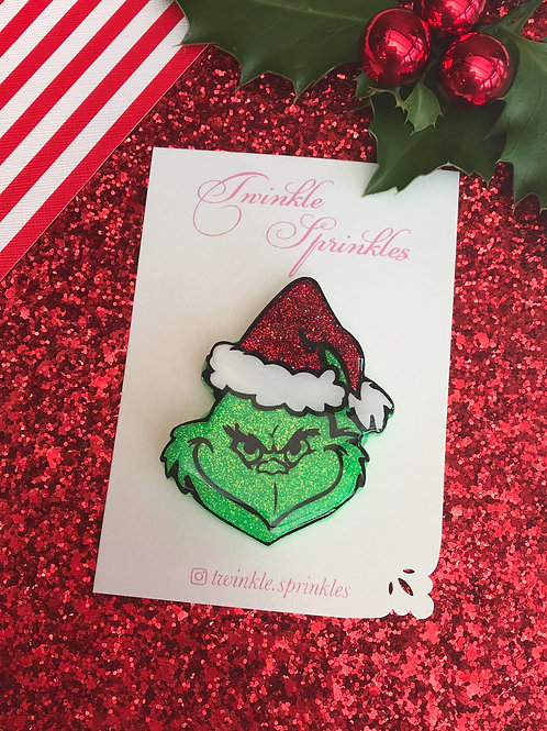 Christmas Grinch inspired Brooch