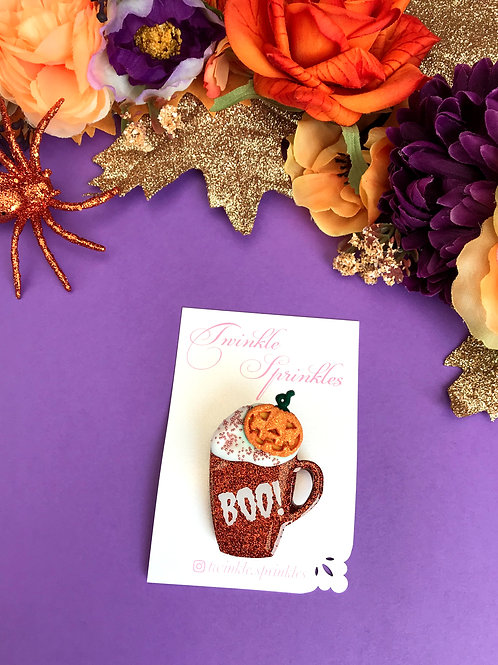 Pumpkin Spiced Coffee Cup Brooch / Necklace