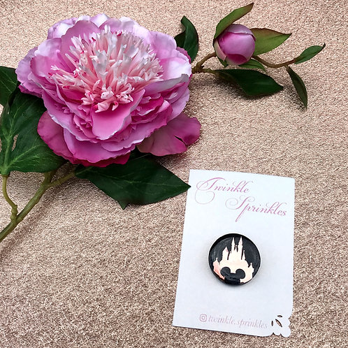 Rose Gold Castle Button Brooch / Necklace