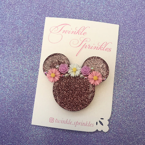 Rose gold floral Minnie Mouse inspired Brooch / Necklace