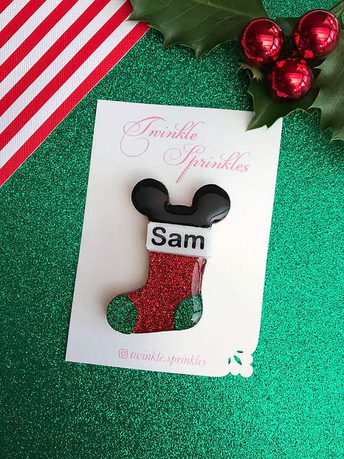 Personalised Christmas Stocking Brooch