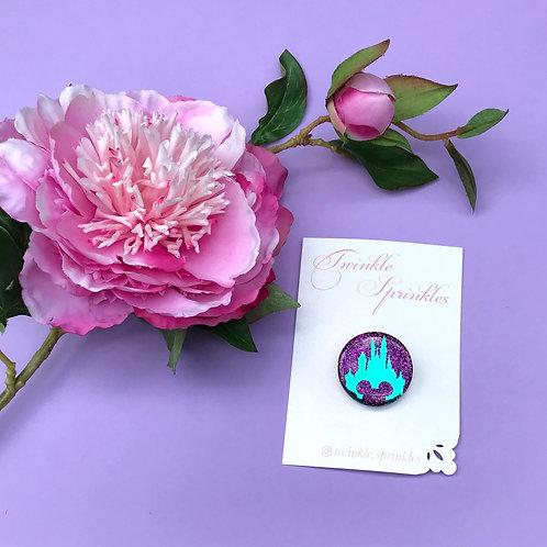 Purple Castle Button Brooch / Necklace