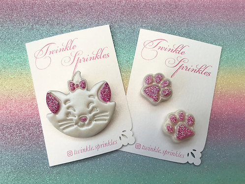 Marie inspired brooch and matching paws set