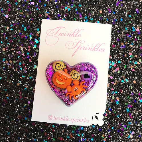 Puffy Halloween heart Brooch / Necklace