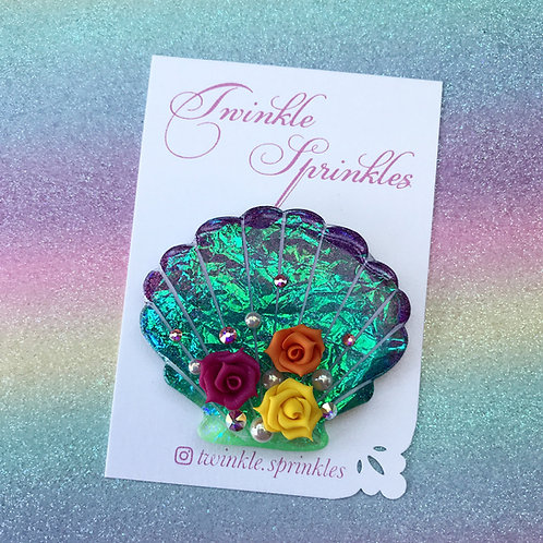Irridescent Holographic Mermaid Shell Brooch with Swarovski crystals