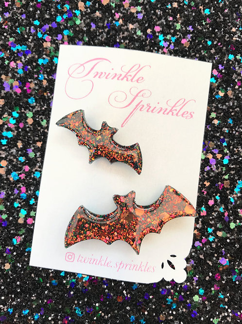 Set of two chunky glitter bat Brooches