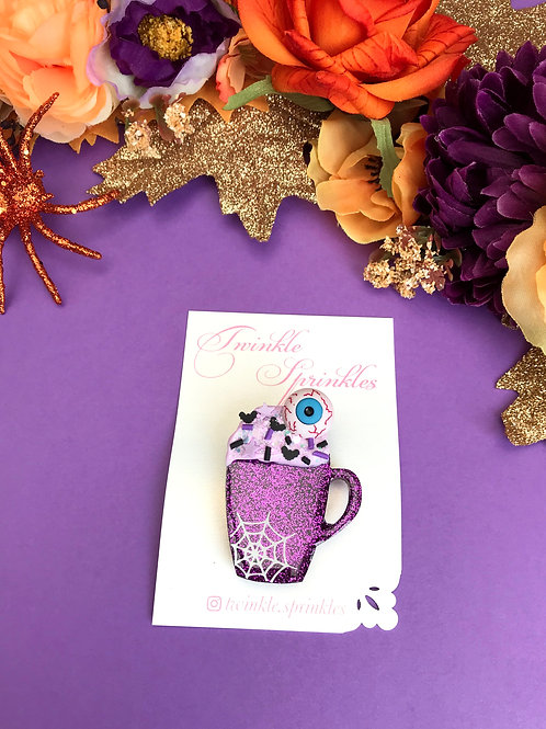 Halloween Coffee Cup Brooch / Necklace