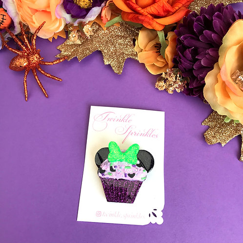 Minnie Inspired Cupcake Brooch / Necklace