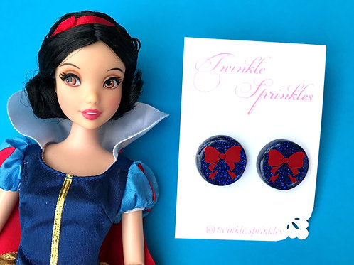 Snow White Inspired Glitter Studs