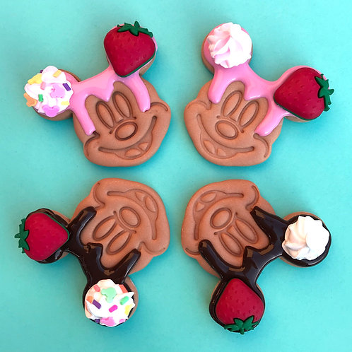 Pink Mickey inspired waffle Brooch / Necklace