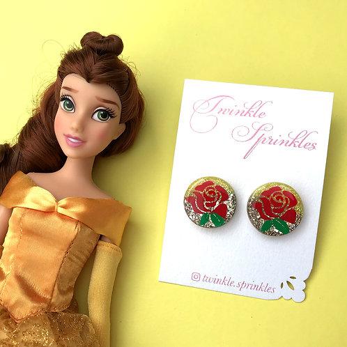Belle Inspired Glitter Studs
