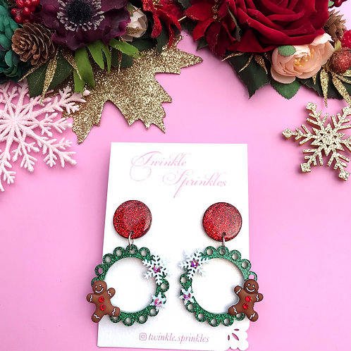 Green Frill Gingerbread Earrings