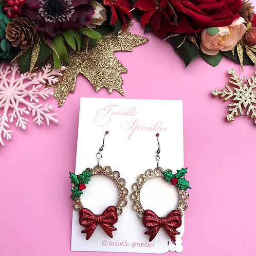 Gold Frill Holly Sprig Earrings