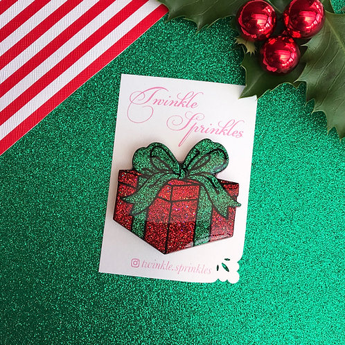 Red / Green Glitter Present Box with Green Bow Brooch / Necklace