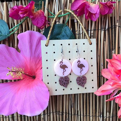 Tropical rose gold flamingo Earrings