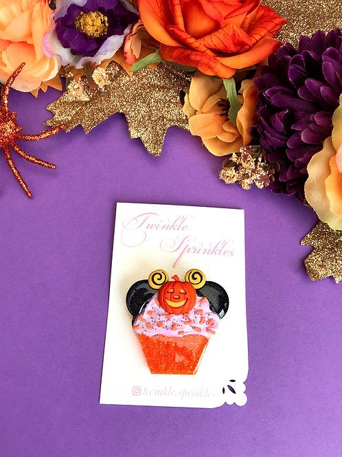 Minnie Inspired Pumpkin Cupcake Brooch / Necklace