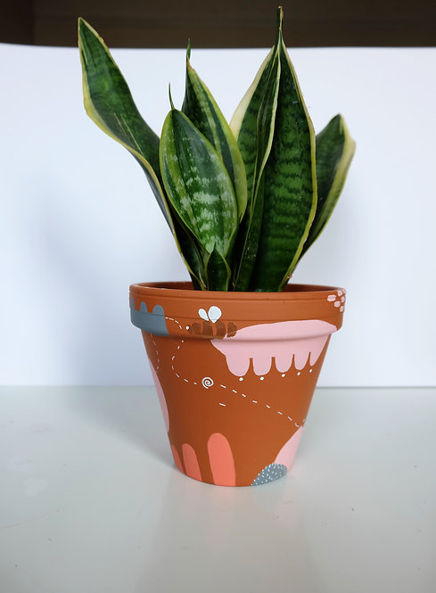 Hand painted terracotta pot- number 2