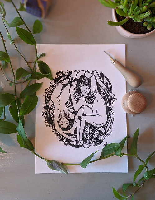 Yang and Yin A4 Lino Print