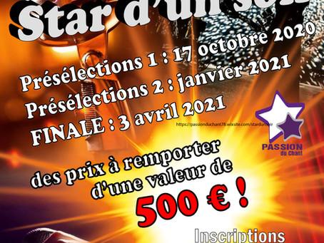 Star d'un soir, le 16ème concours de chant de l'association passion Du Chant