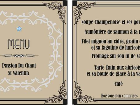 Le menu du dîner dansant de la St valentin dévoilé
