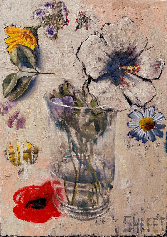 vase with red flower, oil on canvas,  30